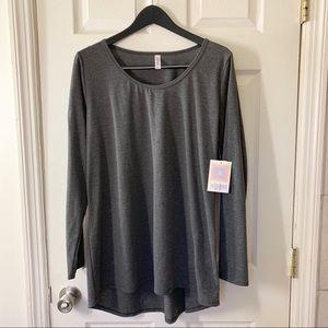 LulaRoe Lynnae Solid Gray Long Sleeved Tee Sz 2XL